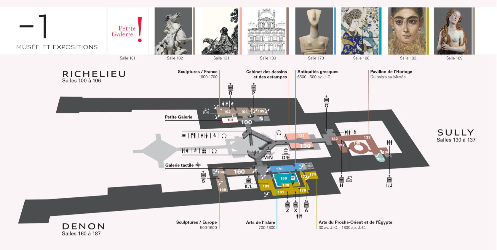 Plan du Musée du Louvre étage -1