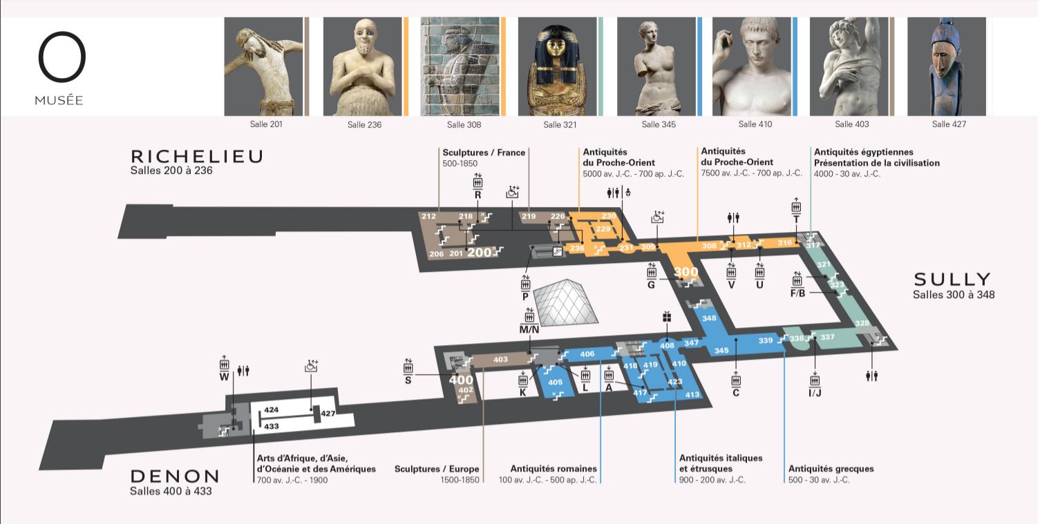 Plan du Musée du Louvre étage 0