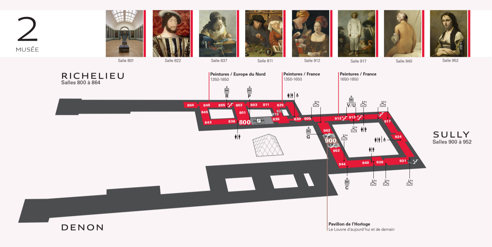 Plan du Musée du Louvre étage 2